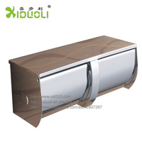 XIDUOLI Stainless Steel Chrome Polished Bathroom Toliet Double Roll Paper Holder W/ Removable Ashtray-in Paper Holders