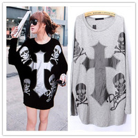 European Style fashion women's cross Long Sleeve  t-shirt with Skull Black/Gray 2014 spring new