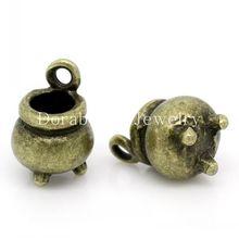 hot- Charm Pendants Witch Cauldron Kettle Antique Bronze 12x8mm,20PCs (B28956)(China (Mainland))