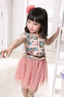 2014 hot sale girls dresses children clothing kids belt fastener Buckle veil flower princess dress fashion Pink Beige GQ-360