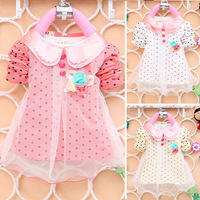 New Spring Fashion Children's Baby Girls Double Doll Collar Cotton Long Sleeve Flower Polka Dot Tops T-shirt Clothing
