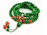 Vintage national trend female handmade accessories multi-layer 108 fozhu agate green malachite bracelet