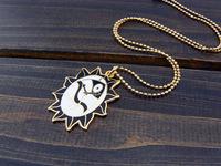 Black clock oval cloisonne enamel necklace