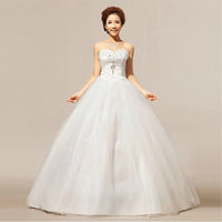 Luxury wedding dress 2014  formal dress white tube top plus size Diamante wedding dress romantic vintage bridal gown HS012