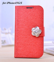 Luxurious Crystal Camellia Silk Style Bling PU Leather Stand Case For Apple iPhone5G 5S 4G 4S With Card Slot Rhinestone Button