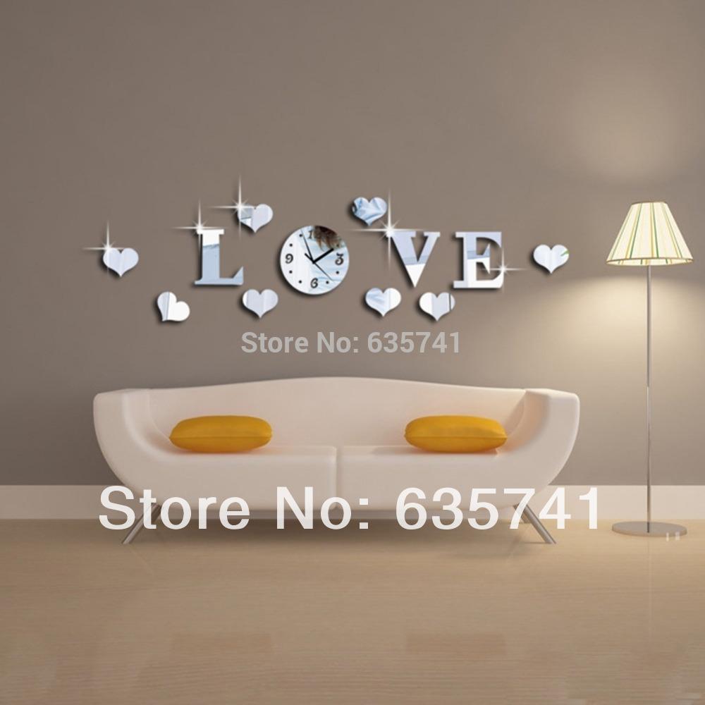 Acrylic 3D Mirror Effect LOVE Decal Wall Sticker Clock Mechanism Decoration Free