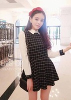 Sexy dress 2014 spring fashion plaid patchwork turn-down collar all-match one-piece dress