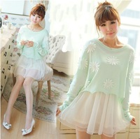 Sexy dress Sweet 2014 Women vintage princess twinset knitted long-sleeve o-neck puff skirt one-piece dress