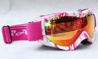 Rayzor Free Shipping Double Lens Polarized AntiFog Windproof Ski Goggles UV400 Protection Snowing Glasses Ventilation holes pink