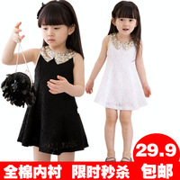 2014 children's clothing female child lace one-piece dress summer child short skirt little girl skirt baby princess dress