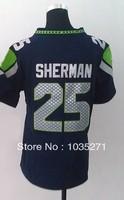 #25 Richard Sherman Women Jersey,American Football Jersey Sport Jersey Stitched Logo Embroidery Authentic Jersey