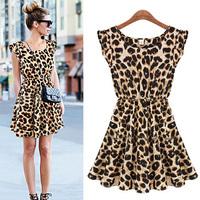 LeoA/2014 New Arrival Leopard Pattern Printed One-Piece Sleeveless Sweet Dress/Top/Blouse
