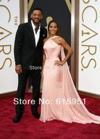Newest Design 2014 86st Oscar Awards Jada Pinkett Smith Pink Chiffon Floor Length A-line Long Chiffon Ribbon Evening Dress MR033