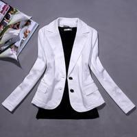 The new  2014 100% cotton elastic slim ol female white blazer outerwear Suit jacket   Free shipping