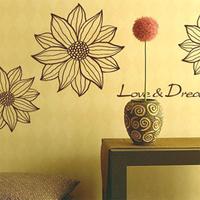 Ofhead sofa diy wall stickers glass stickers romantic flower sunflower