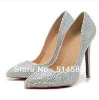 2014 new design party pump Silvery crystal women point toe crystal high heel shoes