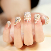 Super-elevation w006 bride full rhinestone pearl false nail bride nail art patch