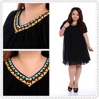 Korean Fashion 2014 Female Summer Large Big Size Clothing Folk Woven V Neck Dress Plus Size Fat Women Chiffon Short Sleeve