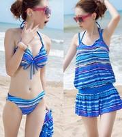 Free shipping 3pcs new 2014 hot selling sexy Fashion stripe dress + women bathing suit swimsuit swimwear bikini set