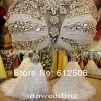 Luxury White A-Line Jewel 2014 Bridal Gowns Crystal Beading Sheer Back Court Train Wedding Dress