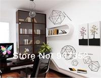 Geometric Figure PVC Home Wall Decal Sticker 135 x 150cm (Dark Grey),free shipping