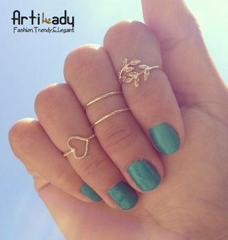 Artilady gold plated midi 4pcs set stacking rings fashion lovely bowknot women jewelry
