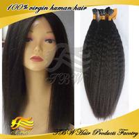 "8""-26"" 100g/pack pre bonded stick hair I tip hair extensions 100% Brazilian Virgin Human Hair kinky straight Hair Natura Color"
