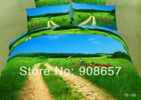 2014 new bedding green grassland scenic 3D print girls comforter cotton queen full bed linen quilt covers set 4-5pc bedclothes