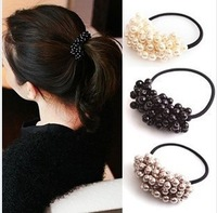 Fashion 6pcs/lot DIY Retail Pearl Elastic Hair Band Black/Brown/Beige Hair Ring Hair Accessory