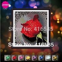 5D DIY diamond Painting crystal rose flowers 3D Cross Stitch Decorative diamond embroidery Rhinestone 28 * 30 CM
