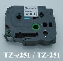 1'x23′ black on white tape 24mm TZ251 TZ-251 TZe251 Compatible brother P-touch TZ Tze label tape ribbon cassette