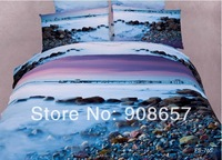 2014 new bedding light blue sea beach 3D printed girls comforter cotton queen full bed linen quilt cover set 4-5pc bedclothes