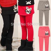 Free shipping child 2014 spring 100% cotton one-piece  pants glasses rabbit cartoon sports pants culottes girls basic pants