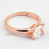 Free Shipping New Fashion Jewelry Womens Girls Oval Clear Cubic Zirconia 18K Rose Gold Filled Ring Gold Jewellery R4R