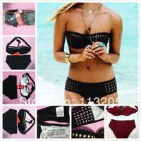 Sexy Vintage Design Bikini Women Fashion With Cup Swimsuit Push Up Swimwear Beachwear Black Cut Out Bikini Set Pin Up Bikinis