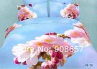 2014 new bedding pink peach blossom floral 3D print girls comforter cotton queen full bed linen quilt cover set 4-5pc bedclothes