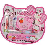 Free shipping 10 sets/lot Wholesale cartoon school supplies for children Hello kitty Stationery Sets (8IN1) Automatic pencil set