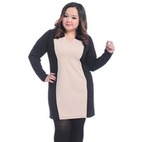 Elegant Spring Plus Size Contrast Color Patchwork Dress Fat Women Big Size Long Sleeve Dress Fashion Female Loose 3XL Clothing