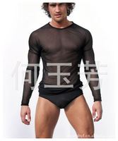 214 New style sexy Transparent mesh men's long sleeve t shirt summer Perspective black or white Size: S-L
