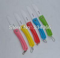 Folding Ceramic Knife Fruit knifes Knif Color ABS handle White blade Designer MINI Cute Key Knives Knife/Folding Hot