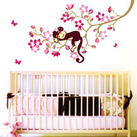 Peach blossom Sleeping Monkey Animal Tree Branch Removable Art Decal Wall Sticker for Kids Baby Room Decor Nursery,X812
