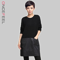 2014 women's wholesale OL commuter double pocket knitted woven long-sleeved dress stitching # 008