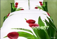 2014 new bedding 3D red tulip green leaf printed girls comforter cotton queen full bed linen quilt cover set 4-5pc bedclothes