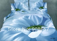 2014 new bedding 3D vivid light blue printed girls comforter cotton queen full bed linen quilt duvet cover set 4-5pc bedclothes