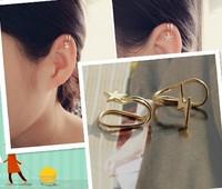 Gold / Silvery punk star / cross clip earring ear cuff
