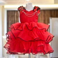 hot sale 2014 brand summer girl dress girl princess red dresses child flower party dress children clothing  age 2~8y