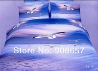 2014 new bedding 3D blue sea seagull bird printed girls comforter cotton queen full bed linen quilt cover set 4-5pc bedclothes