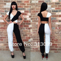 women bandage jumpsuit sexy bodycon deep V-neck black and white patchwork jumpsuit free shipping I7129
