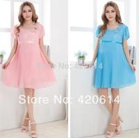 Summer 2014 New Causal Model Maternity Dress, Brand Shorts Women Slim Plus Size Vestidos Pregnant Top Pink Girl Clothing 31088