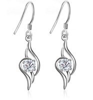 Free Shipping Korean jewelry crystal silver earrings small jewelry wholesale and retail .
